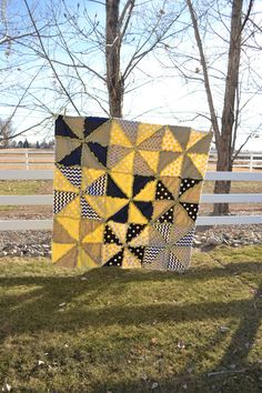 Pinwheel Rag Quilt with Triangles in Yellow, Gray, and Navy Blue, Ready To Ship in 1 Day