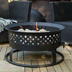 . Round Bronze Propane Campfire Fire Pit.