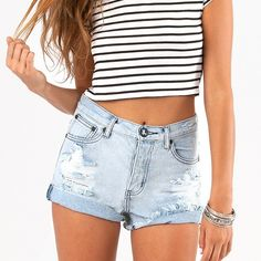 One Teaspoon Hawks Shorts High rise button fly distressed denim shorts from One Teaspoon. Super cute for spring and summer! One Teaspoon Shorts Jean Shorts