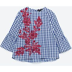 EMBROIDERED CHECKED TOP - NEW IN-WOMAN | ZARA United States (€44) via Polyvore featuring tops, checkered top, embroidery top, embroidered tops y blue top