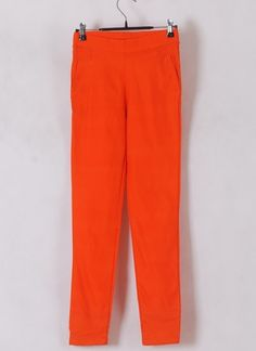 Women Euro Style Elastic Candy Color Orange Pencil Pants Cotton One Size@WH0121o