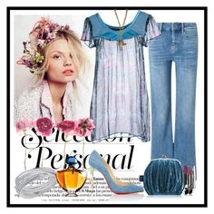 """""""Touch of BoHo"""" by dyanjoy ❤ liked on Polyvore featuring M.i.h Jeans, Custo Barcelona, FACE Stockholm, Christian Louboutin, Chanel, Guerlain and Swarovski"""