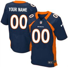 Nike Denver Broncos Customized Navy Blue Stitched Elite Men's NFL Jersey