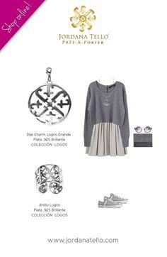 Dije Charm Logos Gd y Anillo Logos en plata .925 brillante de la Colección Logos by Jordana Tello