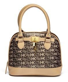 Brown Jaquard Hello Kitty Dome Satchel | zulily