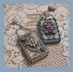 altered jeweled mini matchboxes, but could also use Altoids Tin, paint gray instead