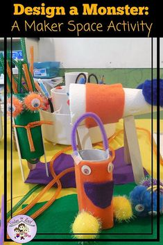 """Learn how my kids used our Makerspace to build a monster to go along with the book, """"How to Catch a Monster"""" by Adam Wallace & Andy Elkerton."""