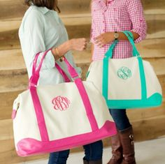 Weekender Bags with monogram! shop at dazzledsouthboutique.com