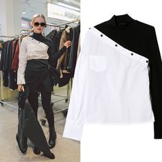 2017 Spring New Fashionable Women's Shirt Black and White Spell Color Semi-high Collar Oblique Long-sleeved Shirt