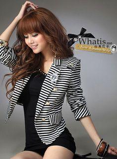 bd030d3a196a7 Black White Striped Blazer Short Coat Jacket Single Button w Anchor Badge