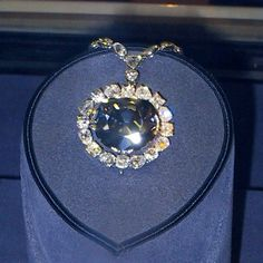 The Hope Diamond secured in its prior setting when it was housed briefly at The Smithsonian Institute.