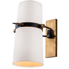 624 Yasmin Wall Sconce features a Matte Black finish with solid Brass details with a White linen shade with off-white cotton lining. Shade is adjustable up and down as well as stationary. Two 60 watt 120 volt A19 medium base incandescent lamps not included. UL listed. Suitable for damp locations. 11 inch width x 18 inch height x 15.5-22.5 inch depth.