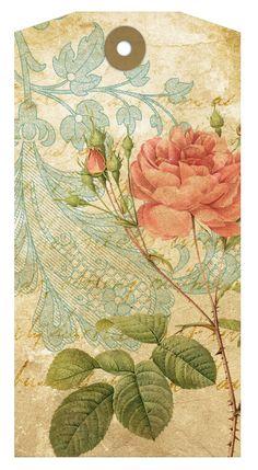 Libre para imprimir Regalo Romántico Collage Tags Hoja-vintage, libre, etiqueta imprimible, romántico, rosa, pájaro, tarjeta, regalo, araña, forma de vestir, la corona, el papel