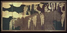 attributed to the Hasegawa school. Screen with Wisteria and Fence, early 17th century.  Ink and color on paper, gold leaf, silver leaf.  Japan