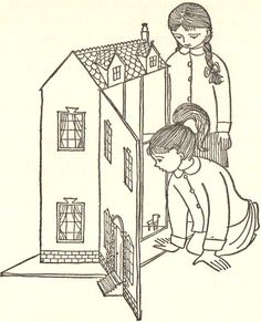 dollhouse illustration, b/w/ line drawing Source: Unknown