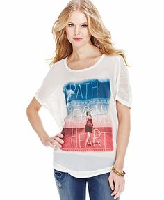 Jessica Simpson Printed Mesh-Panel Top