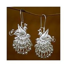 @Overstock - Support a humanitarian cause while showing off magnificent craftsmanship with these peacock earrings. These hook-clasp earrings are handmade by women through Worldstock. They are made of sterling silver and have feathers with clear beads.http://www.overstock.com/Worldstock-Fair-Trade/Sterling-Silver-Royal-Peacock-Earrings-Indonesia/3067481/product.html?CID=214117 $48.19
