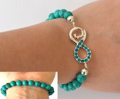 Turquoise Infinity Bracelet Stretch Gemstone Bracelet by iyildiz, $25.00 Infinity Jewelry, Turquoise Stone, Gemstones, Crystals, Trending Outfits, Unique Jewelry, Bracelets, Handmade Gifts, Beauty