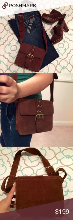 """🍁🍂🍃GORGEOUS FRYE CROSS BODY PURSE HAND BAG🍃🍂 FRYE. CLASSIC. SIMPLE. COOL. CHIC. EPIC. Brown leather pocket book. This bag will take you from day to night with ease. Very Sturdy and built to last. This one has awesome buckle features and a magnet closure. Excellent condition. Just a bit of random purse """"dust"""" inside. No stains. : ) Ask me any questions! Frye Bags Crossbody Bags"""