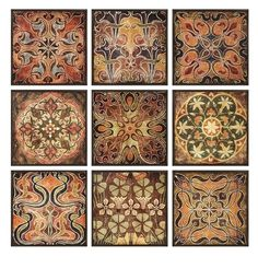 """Large Morrocan Style S/9 Wood WALL DECOR Art Plaques 12"""" Square Tuscan NEW"""