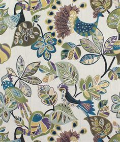 """OMG!!  I finally found the fabric I saw at Hobby Lobby!  Love the birds...this is a heavy upholstery weight fabric....want to do the """"ugly chairs"""" in them!!  Swavelle / Mill Creek Chirpy Grape Fabric 