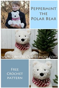 Crochet this cute little stuffy, Peppermint the Polar Bear Amigurumi! He's easy to make and can be made as a brown bear as well. And just as cute! FREE crochet pattern with easy to follow instructions. #crochet #freecrochetpattern #crochetamigurumi #amigurumi #crochetanimal Crochet Baby Toys, Crochet Home, Crochet For Kids, Crochet Crafts, Crochet Projects, Free Crochet, Crochet Animals, Crochet Ideas, Crochet Toddler