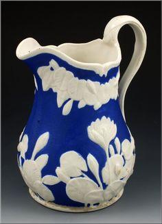 Rare 19thC Bennington Pottery Parian Pitcher / Jug in Pond Lily pattern