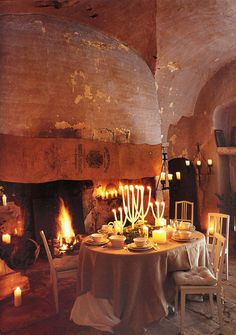 Fall is the time for a romantic dinner in front of a roaring fire.