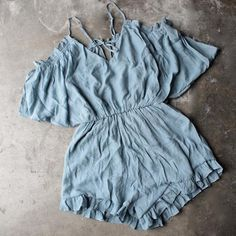 crinkled peek a boo shoulder romper with ruffle hem in misty blue - shophearts - 1