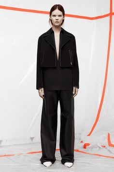 I love the plunging neckline with the volume of those pants.  T by Alexander Wang | Pre-Fall 2014 Collection | Style.com