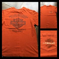 ✖️LAST CHANCE✖️Harley Davidson tee Harley Davidson 🎀 orange short sleeve shirt 🎀 pocket on the front 🎀 large logo on the back 🎀 Unisex size medium 🎀 No rips, tears or stains 🎀 100% cotton Harley-Davidson Tops Tees - Short Sleeve