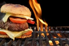 Homemade BBQ Beef Burger On The Hot Flaming Grill. Good Snack For Outdoors Summe. Outdoor Cooking Recipes, Grilling Recipes, Beef Recipes, Cooking Tips, Grilling Tips, Hamburger Recipes, Copycat Recipes, Homemade Burgers, Homemade Bbq