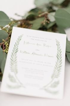 This soft light green design has a wonderful earthy touch. Letter-pressed by Lala Press; Photo: Sean Money + Elizabeth Fay