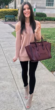 #winter #outfits  pink knitted cold shoulder sweatshirt and black fitted jeans