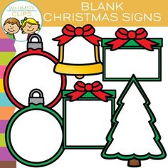 Free blank Christmas Signs clip art that has a white center. This clipart set could be used for a number of things, including adding text or images to the white center. This Christmas clip art freebie contains 12 image files, which includes 6 color images and 6 black