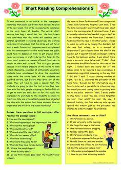 Short Reading Comprehensions 5 worksheet - Free ESL printable worksheets made by teachers Comprehension Exercises, Reading Comprehension Activities, Reading Worksheets, Reading Fluency, Reading Passages, Teaching Reading, Printable Worksheets, English Comprehension Passages, Adverb Activities