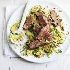 Beef and herby couscous salad, a delicious recipe from the new Cook with M&S app.