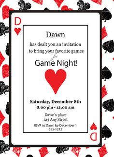 Game Night Casino Playing Card Poker Queen of Hearts Birthday Invitation Invite Printable on Etsy, $13.00