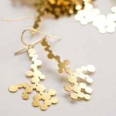 gold dendrite earrings by nervoussystem on Etsy, $40.00