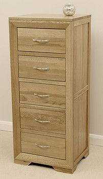 tallboyBevel Natural Solid Oak Tall 5 Drawer Chest