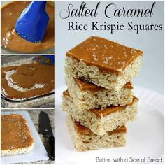 Salted Caramel Rice Krispie Squares .. generally not into sweets, but always been a sucker for rice crispie bars