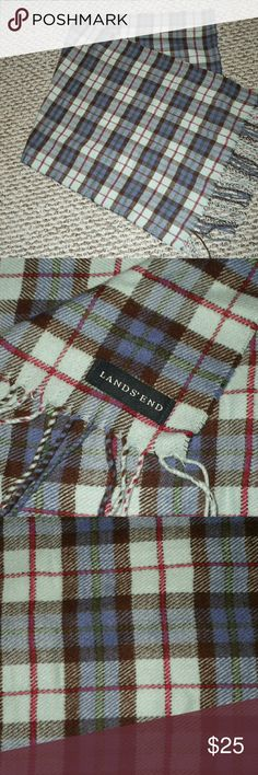 Land's End Plaid Scarf NWOT.  Super soft!  Periwinkle, pink, brown, and skyblue plaid. Lands' End Accessories Scarves & Wraps