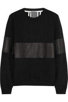 Lot78 Leather-paneled cotton-jersey sweatshirt | NET-A-PORTER