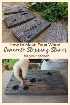 How to create realistic faux-wood concrete stepping stones for your garden. These look amazing! How to create realistic faux-wood concrete stepping stones for your garden. These look amazing! Concrete Stepping Stones, Garden Stepping Stones, Concrete Steps, Stone Walkway, Stepping Stone Molds, Outdoor Walkway, Concrete Crafts, Concrete Wood, Concrete Projects