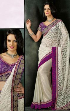 OFF WHITE & PURPLE BRASSO LATEST SAREE - VAL 5322