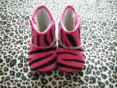 pink zebra baby booties