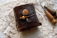 Gypsy Flower - Rustic Brown Leather Journal, Recycled, Hand Bound, Tea Stained Pages, OOAK  Bibliographica