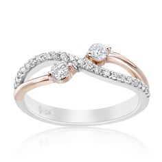 SummerRose 14k Two-tone Gold 1/3ct TDW Forever 2 Two-stone Diamond Ring (H-I, SI1-SI2) (Size 9), Women's