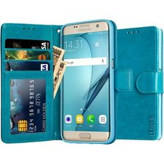 LENSEN Galaxy S7 Edge ケース 手帳型 人気 ギャラクシーs7エッジ カバー 高級PUレザー カードポケット スタンド機能 SC-02H SCV33 専用 スマホケース マグネット 8GB TFカード付属 (ブルー LSS7E-004-LA)