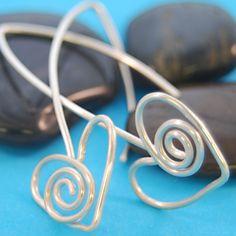 Sterling Silver spiral heart earrings   - ©7th Sister Studios Jewelry Art